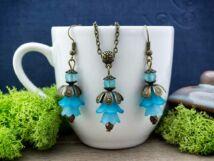 Kék harangvirágos nyaklánc és fülbevaló szett