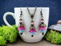 Kék magenta és rózaszín harangvirágos szett