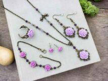 Lila rózsás gyűrű karkötő fülbevalók és nyaklánc szett