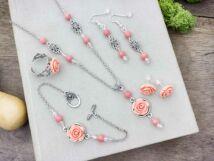 Barack színű rózsás fülbevalók karkötő gyűrű és nyaklánc szett