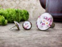 Üveglencsés vintage rózsa gyűrű és fülbevaló szett