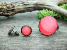 Üveglencsés piroskás gyűrű és fülbevaló szett