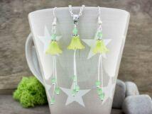 Zöld harangvirágok nyaklánc és fülbevaló szett