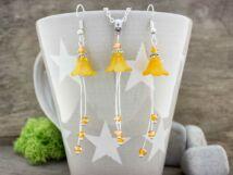 Sárga harangvirágok nyaklánc és fülbevaló szett