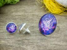 Üveglencsés lila pillangó gyűrű és fülbevaló szett
