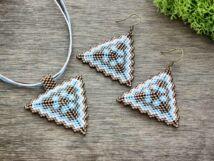 Barna és kék piramis nyaklánc és fülbevaló szett