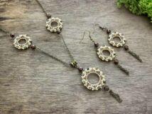 Aranyló bling ring nyaklánc és fülbevaló szett