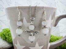 Fehér jáde angyalka fülbevaló és nyaklánc ásvány szett