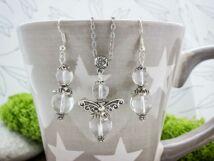 Hegyikristály angyalka fülbevaló és nyaklánc ásvány szett