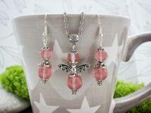 Cseresznyekvarc angyalka fülbevaló és nyaklánc ásvány szett