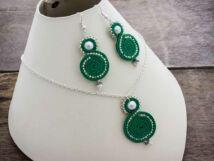 Zöld örvény sújtás nyaklánc és fülbevaló szett