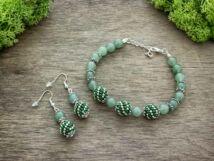 Zöld aventurin végtelen gyöngyös fülbevaló és karkötő ásvány szett