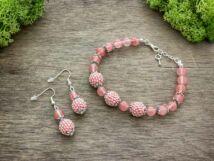 Cseresznyekvarc végtelen gyöngyös fülbevaló és karkötő ásvány szett