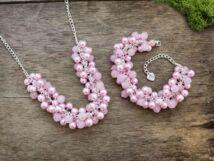 Bubble rózsakvarc nyaklánc és karkötő szett
