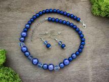 Kék színű kristályos fülbevaló és nyaklánc szett