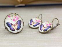 Üveglencsés virág és pillangó gyűrű és fülbevaló szett