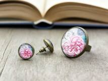 Üveglencsés vintage flower gyűrű és fülbevaló szett