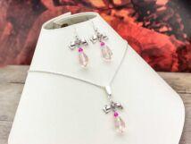 Rózsaszín kristályos masnis fülbevaló és nyaklánc szett