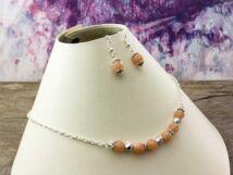 Narancs és ezüst kristályos nyaklánc és fülbevaló szett