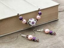 Lila csillogó gömböc nyaklánc és fülbevaló szett
