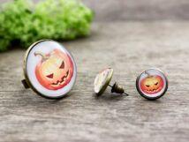 Üveglencsés Halloween tökös gyűrű és fülbevaló szett