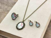 Üveglencsés vintage virágos gyűrű fülbevaló és nyaklánc szett