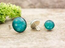 Üveglencsés karácsonyi csillogás gyűrű és fülbevaló szett