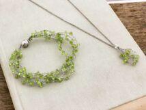 Olive kvarc horgolt nyaklánc és karkötő szett