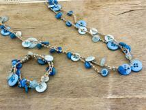 Horgolt kék gombos nyaklánc és karkötő szett