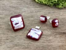Vörös szivárvány gyűrű medál és fülbevaló üveg szett