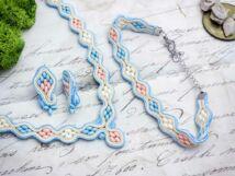 Kék hullámok sujtás fülbevaló nyaklánc és karkötő szett