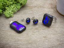 Fekete kékség gyűrű medál és fülbevaló üveg szett
