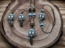 Kék bronzos indián gömbös gyöngy nyaklánc karkötő és fülbevaló szett