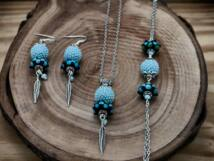 Kék indián gömbös gyöngy nyaklánc karkötő és fülbevaló szett