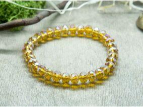 Irizáló sárga kristály gyöngy karkötő
