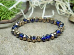 Bronz és kék kristály gyöngy karkötő