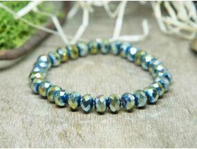 Kék és ezüst játéka kristály gyöngy karkötő