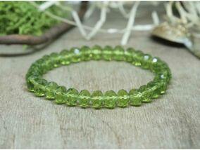 Mohazöld kristály gyöngy karkötő