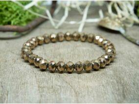 Csillogó bronz kristály gyöngy karkötő