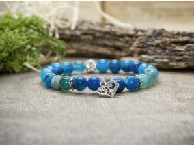 Szeretet kék achát ásvány karkötő