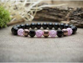 Pink rozé mámor vegyes ásvány karkötő