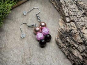 Pink rozé mámor vegyes ásvány lógós fülbevaló