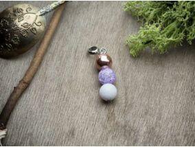 Lila rozé vegyes ásvány medál