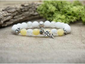 Sárga és fehér virágos vegyes ásvány karkötő