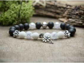Fekete és fehér virágos vegyes ásvány karkötő