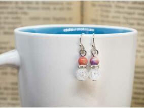 Hegyikristály és rózsaszín jáde ragyogás lógós fülbevaló