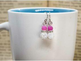 Hegyikristály és rózsaszín achát ragyogás lógós fülbevaló