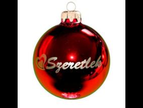 Szeretlek fényes piros arany nyomással 8cm - Karácsonyfadísz