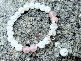 Angyali Amor rózsakvarc és hegyikristály ásvány karkötő