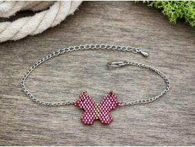 Fűzött gyöngyös rózsaszín pillangó karkötő